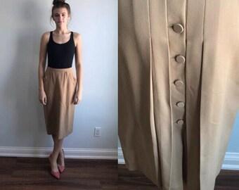Vintage 1970s Skirt, Liliane Burty, Camel Skirt, Skirt, Pleated Skirt, Liliane Burty, Tan Skirt, Wool Skirt