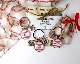 Baseball Key Ring Personalized Sports Key Chain with Charm in Matching Fabric Gift Bag for Sons Daughters Boyfriends Jersey Numbers Teams