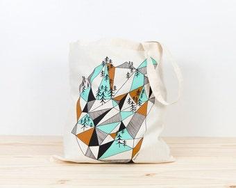 Tote bag, geometric mountain, screen printed canvas tote, organic canvas tote, geometric canvas tote, depeapa, illustration, handmade tote
