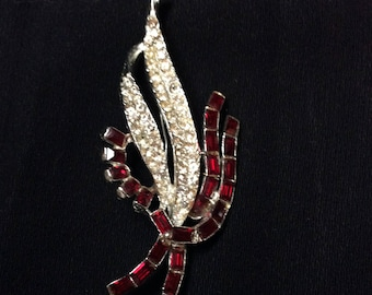 Art Deco Ruby Rhinestone Brooch