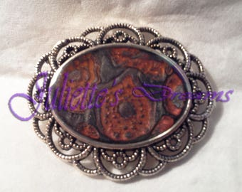 "Brooch ""Damask"" - hand - painted resin cover."