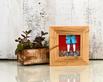 4x4 Square Picture Frame Reclaimed Pine 1.5x1.25 Style with Natural Finish - IN STOCK - Same Day Shipping - 4 x 4 Upcycled Wooden Frame