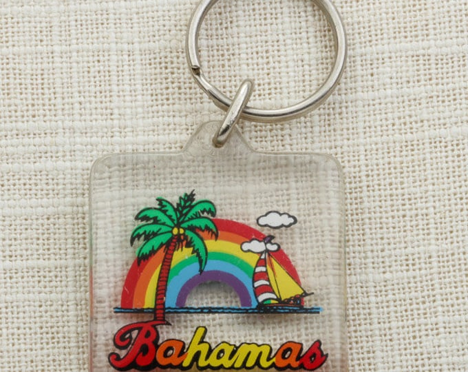Bahamas Vintage Keychain Rainbow Palm Tree Coconuts Sailboat Ocean Tropical Souvenir Key FOB Key Chain 16U