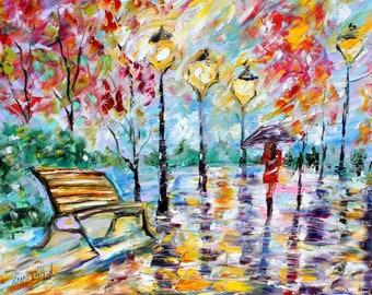 Park painting Original oil landscape Central Park palette knife impressionism on canvas 24x20 fine art by Karen Tarlton