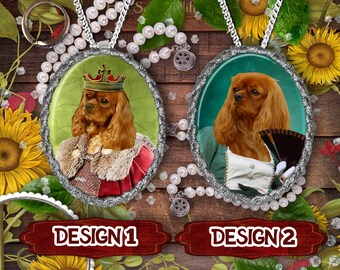 Cavalier King Charles Spaniel Dog Jewelry Handmade Pendant  Dog Jewelry Dog Charm Custom Dog Jewelry Personalized Dog Porcelain Jewelry