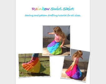 Rainbow swirl skirt pattern drafting photo tutorial PDF instant download. Toddlers, kids, girls, and women's sizes