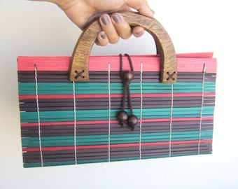 Wooden clutch colorfull/asian clutch
