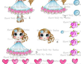 INSTANT DOWNLOAD Digital Digi Stamps Buttons and Roses  3D Decoupage kit Besties Big Head Dolls Digi By Sherri Baldy