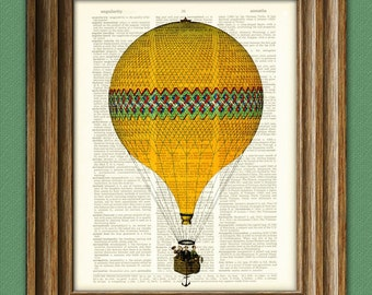 Cool Morning Sunshine Yellow and Green Hot Air Balloon voyage illustration dictionary page book altered art print