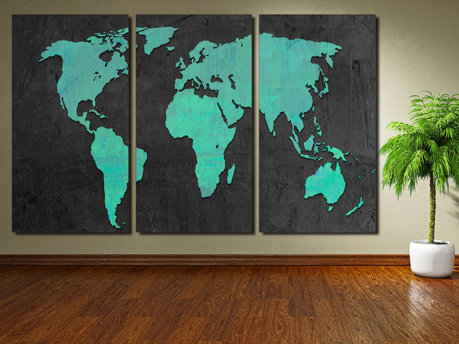Turquoise world map canvas print art 3 panel split zoom gumiabroncs Image collections