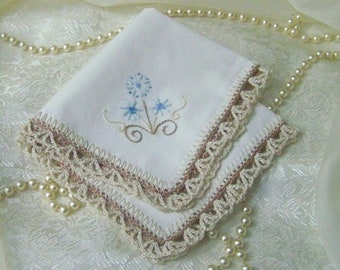 Ladies Handkerchief, Hand Crochet, Lace, Hand Embroidered, Off White, Ready to ship