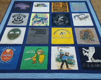 Jersey t-shirt quilts made from 9 to 49 tees. Memory T shirt quilts. Custom tshirts quilt. Deposit only!!!