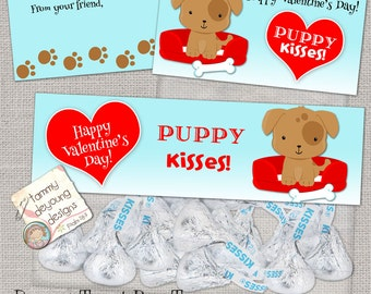 Puppy Dog Valentine Treat Bag Toppers, candy kisses, Valentine Party Favor tags, preschool Valentines for kids, boys, girls snack bag labels