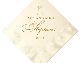 Mr and Mrs Personalized Wedding Napkins, Bar Napkins, Wedding Reception Napkins, Custom Napkins, Personalized Wedding Napkins
