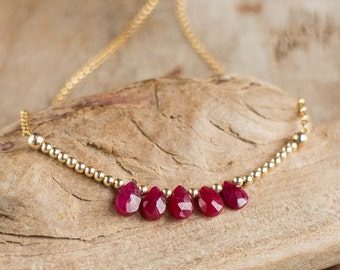 Genuine Ruby Necklace, July Birthstone, Red Ruby Necklace, Ruby Jewellery, Silver Gold Gemstone Jewelry, Fifth Anniversary Gift
