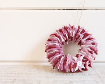READY TO SHIP Upcycled Felt Scrap Mini Wreath Ornament in White, Maroon, and Mauve