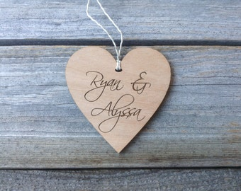 Custom Wedding Anniversary Wood Heart Ornament  Personalized Christmas Ornament Rustic Wood Heart Our First Christmas Valentines Day Gift