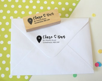 Location Marker Return Address Stamp - Custom address stamp - personalized - you are here