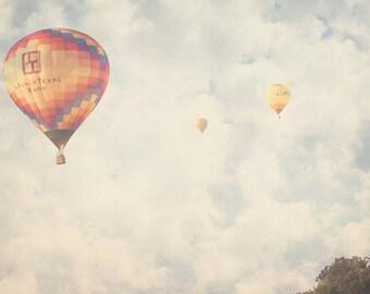 Hot Air Balloons - 8x10 photograph - Balloon Festival - fine art print - vintage photography - Texas - nursery art