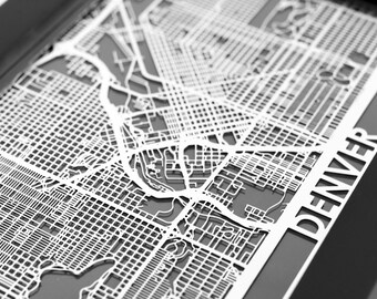 "Denver Colorado Stainless Steel Laser Cut Map - 5x7"" Framed | Wall Art"