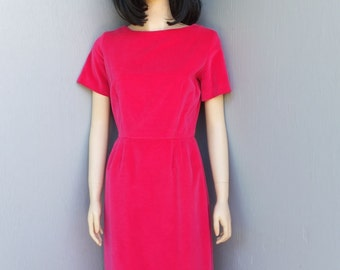 1950s Dress, HOURGLASS Figure Hugging Dress, Fuchsia Velour, Wiggle Dress, BOMBSHELL,  MEDIUM