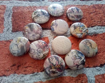 25mm/1 inch button badge -  Alice in Wonderland, Alice, Hatter, Cheshire Cat, Rabbit, collectable badges, party bag fillers, tea party,