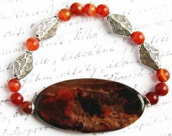 fathers Day Gift Agate Slice Bracelet Orange Brown Stone Bracelet Gemstone Carnelian Bracelet Silver Diamond Beaded Bracelet Bohemian Gift