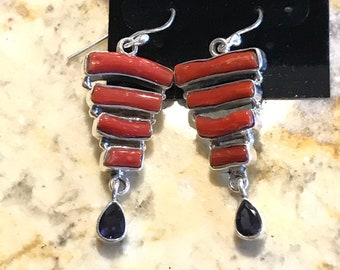 Red Branch Coral and Iolite Earrings