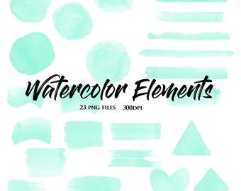 75% Off Sale-Mint Watercolor Elements-Watercolor Shapes-Scrapbooking Designs-Invitations-Logos-Clipart Designs
