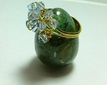 Lilac Swarovski crystal adjustable ring