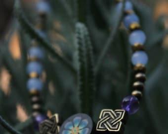 Blue & Gold Flower Bracelet