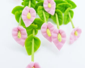 Miniature Polymer Clay Flowers for Dollhouse, Calla Lily, 12 stems with leaves