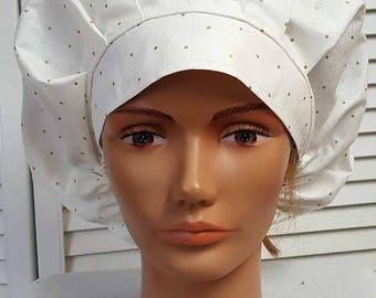 Bouffant Scrub Hat: Small Gold Polka Dot