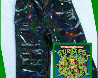 Ninja Turtles Inspired Splatter Painted Distressed Ripped Jeans- Shorts- Skirts- Baby Girl- Baby Boy- Kids Fashion- Newborn- Infant- Toddler