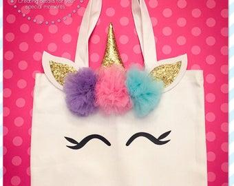Large Unicorn tote bag, Unicorn tote, Unicorn Bag, Unicorn Canvas, Pompom flowers.