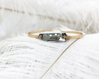 Smokey Gray Swarovski Bangle   Gold Bangle   Boho Bangle   Stackable Bangle   Bracelet   Bridesmaid Gift   Wedding Jewelry   Personalized