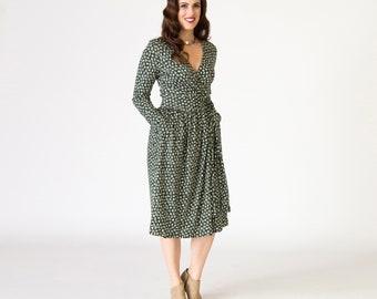 Damen Wrap Kleid dunkel grün Drucken Langarm-Knie-Länge in Bio Pima-Baumwolle stricken Interlock nachhaltige