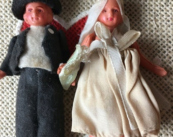 Celluloid 1920's BRIDE & GROOM Dolls in ALL Original Clothing are in Original  Mint Condition