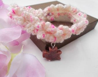 Crochet bracelet , rhodonite bracelet , friendship bracelet , charm bracelet , crochet jewelry , gemstone jewelry , nature jewelry