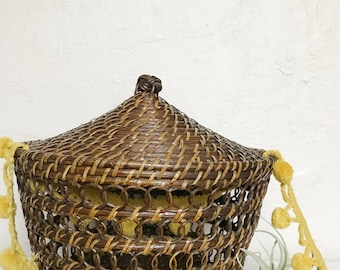 Woven coiled wood rattan basket with lid