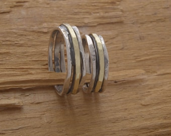 Couples Wedding Band Set, 5mm Width Rustic Silver and Gold Wedding Bands, His and Her Promise Ring Set, Custom Matching Wedding Bands, BE67