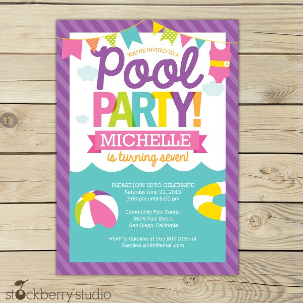 Pool party invitation printable girl pool party summer zoom stopboris Images