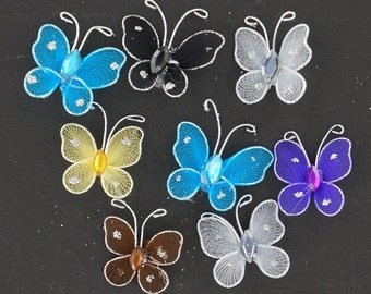 1 inch nylon organza wired decorative butterflies 12 pieces