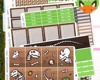 Dino-Mite EC Vertical 6 sheet Weekly Kit - Dinosaur T-Rex Jurassic Park Paleontology Grass Earth - Planner Stickers - Erin Condren (EC0001)