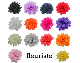 "Small Fabric Flower, Chiffon Flower, Wholesale Flower, Fabric Flower, Headband Flower, Flower Embellishment, DIY Flower, 2"", Pick Colors"