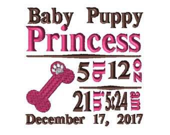 CUSTOM Birth Info Embroidery File: 5x7 Puppy