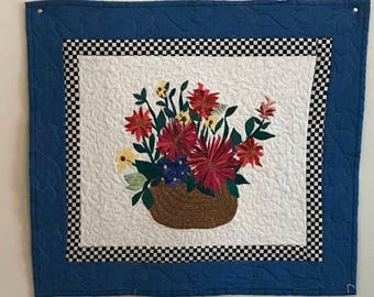 Quilted Wall art Floral Still Life Basket of Flowers - Blue and checkered border