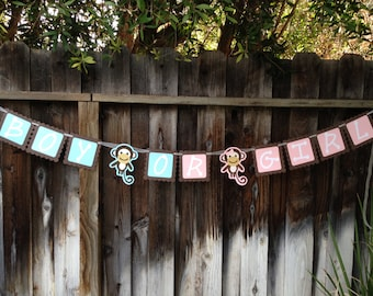 Gender Reveal Monkey Baby Shower Banner
