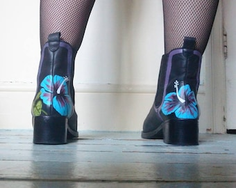 Painted Hibiscus leather boots