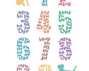 Dog Numbers Poster – Nursery Art, Baby, Children, Pets – Downloadable A3/A4 Print